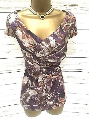 Betty Jackson Black Ruched Flattering Waist Top Mauve with Stretch - Size 18