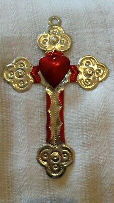 Mexicantin decoration cross with heart