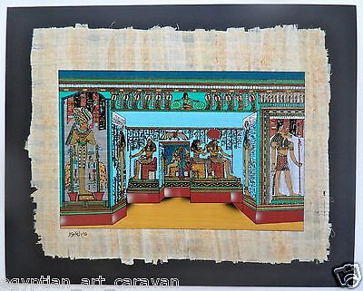 Matted Papyrus Painting From Egyptian Art Caravan The Temple of Ramses wife