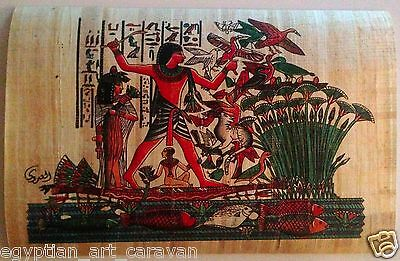 Papyrus Painting From Egyptian Art Caravan of King Tut on the Nile