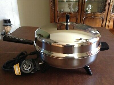 "Vintage Faberware Electric Fry Pan 310-A Stainless Steel 12"" Skillet w/ Dome Lid"