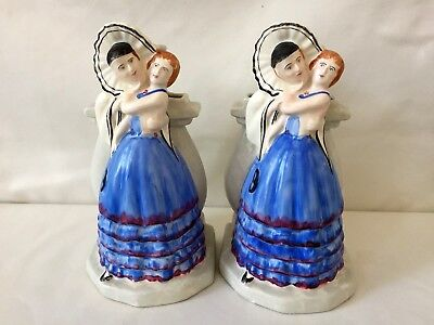 Antique Art Deco Ceramic Hand Painted Spill Vases x2 - Man Lady Masquerade Ball