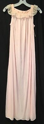 Vtg Eve Stillman NOS Light Pink 100% Nylon Long Gown Nightgown Sz P Lace Sheer