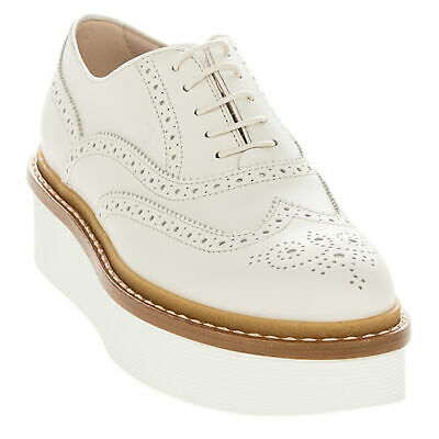 7c811259b9 TOD'S WOMEN'S DIE Cut Brogue Creeper Lifted Oxfords Beige Leather ...