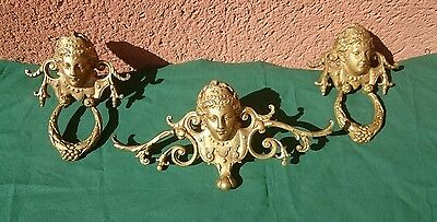 Antique Set Of Three Decorative Cast Finials Gilt Finish