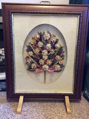 Vintage Fire Screen Dried Flowers Decorative Posy Floral Retro Wood Glass Brass