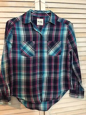 9c7373045d15 MUDD GIRLS FLANNEL Shirt size 10 Long Sleeve Western Teal Navy Plaid ...