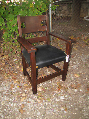 SUPERB RARE Antique Charles LimberT Armchair with Cutouts  inv4407 Stickley era