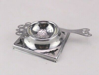 Vintage Chrome Plated Tea Strainer and Drip Bowl - For Loose Tea Leaves