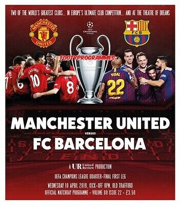 PRE-ORDER Manchester United v Barcelona Champions League 2019  new programme