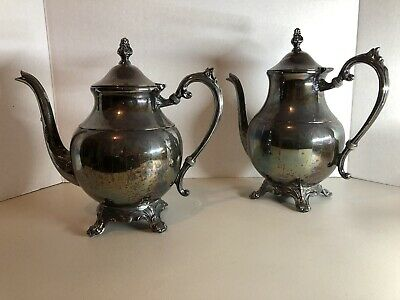 2 Vintage Antique Silver Plated Metal Coffee 4 Footed Teapot Flip Lid FB Rogers