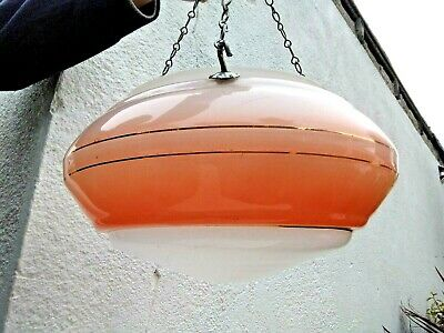 Vintage Art Deco Pink & White Glass Shade Ceiling Light Pendant & Chains