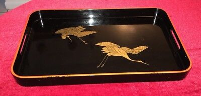 "Vintage Oriental Black ""Otagiri"" Hand Crafted Japanese Serving Tray 19"""
