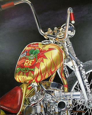 Indian Larry Rat Fink Bobber Signed Limited Edition Motorcycle Art Print by JG