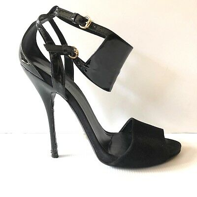 7abb298b75a Gucci Women s Patent Leather Ankle Cuff High Heel Sandals Size 39 Black US  8.5