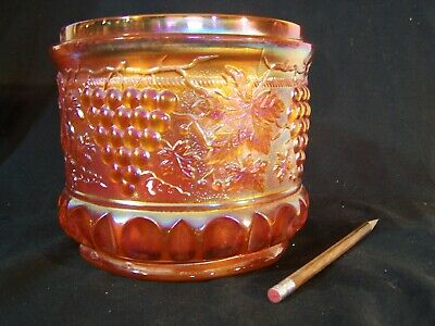 Huge Antique NORTHWOOD Carnival Glass Marigold GRAPE &CABLE Humidor Biscuit Jar