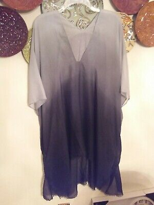 f609129bb8 Cruise Club-Ombre Sheer Cover Up Or Tunic-Grey/black- One Size