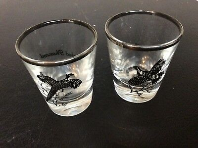 Ring Neck Pheasant & Grouse with silver rim glass!  Lot #  59