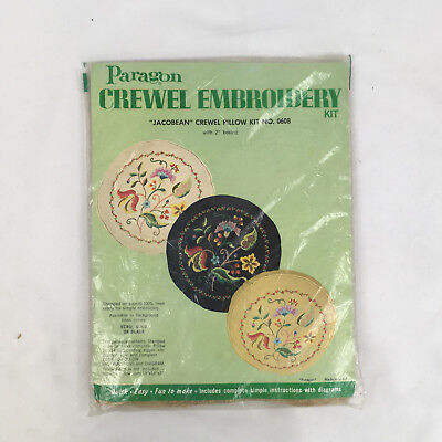 Vintage Paragon Jacobean Crewel Embroidery Pillow Kit #0608 stamped linen