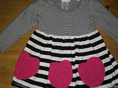 Girls Pink and Black Stripped Bonnie and Jean Two Piece Dress Outfit size 5