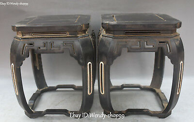 Old China Ebony Wood Ancient Flower Pattern Stool Small Seat Chair Statue Pair