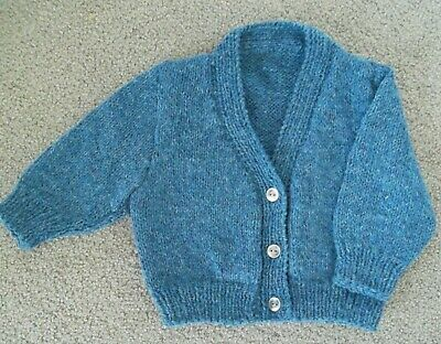NEW Hand Knitted Boy's V-Neck Cardigan - Birth to 3 months
