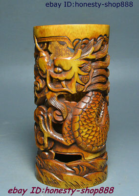 """5"""" Old Chinese Bamboo Dragon God Loong Auspicious Pen Container Brush Pot Statue"""