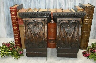 Antique Pair Black Forest Carved Wood Corbels Architectural Brackets
