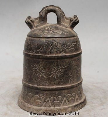 """7"""" Chinese Buddhism Bronze Temple Fairy Belle Bell Zhong Hanging"""