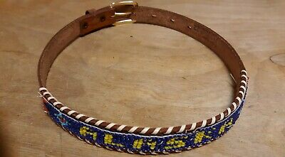 Vintage Child's Leather Beaded Belt Alaska Size 22 Hat Band