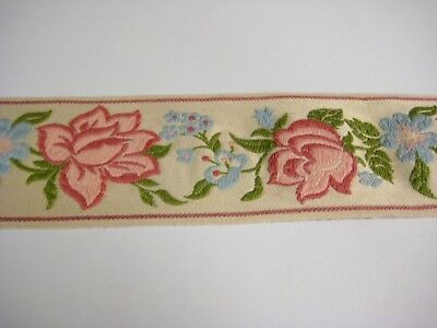 "French Floral Decorator Trim Ecru Pink Green Blue 2.75"" Wide By The Yard Vintage"