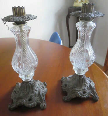 Victorian Pair of Bronze & Glass and Dangling Prism Candle Holders Candlestick