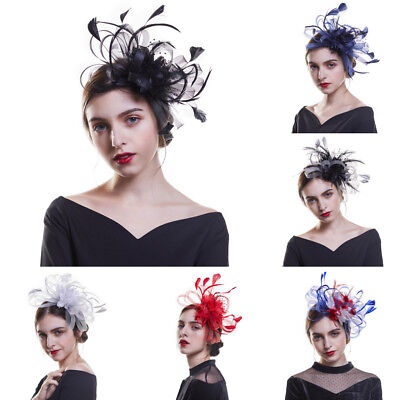 Women Feathers Fascinator Mini Top Hats Headband Wedding Prom Headpiece Party