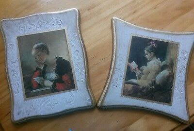 Lovely Antique Florentine Gilt Gold Pictures Wood Italy Tole,Set of Two!