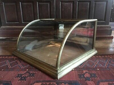 Antique mercantile countertop nickel plated brass display case