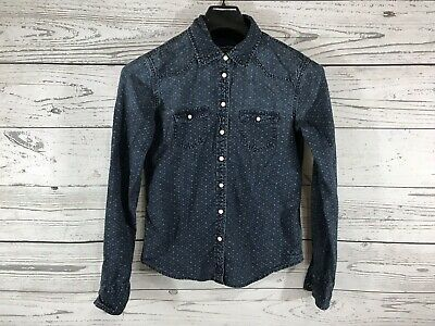 9a51bd2f American Eagle Womens Blue Denim Long Sleeve Button Down Shirt Size Small