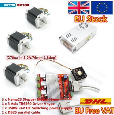 EU 3 Axis 270oz-in stepper motor Nema23 3A+TB6560 Board+24V power supply CNC Kit