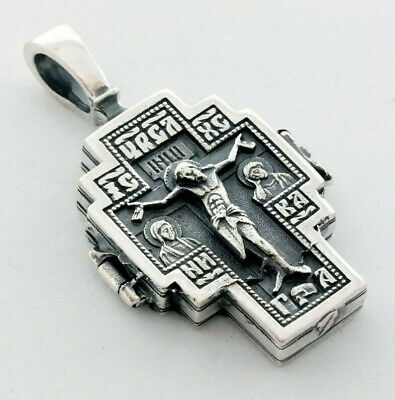 Sterling Silver Cross Orthodox Cross Greek Russian Gold Plated Крест Kreuz BA017