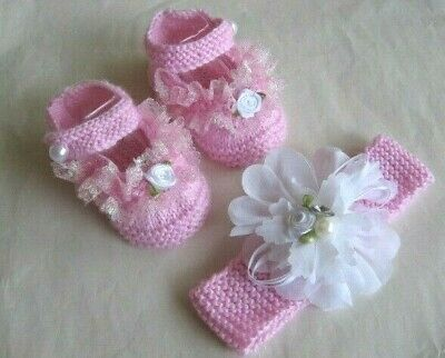 Hand knitted pink baby booties and headband to fit 3-6 months