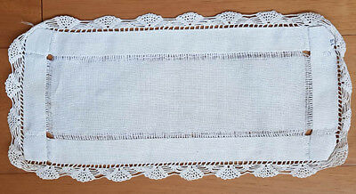 White linen small runner with lace edges and drawn thread work, vintage