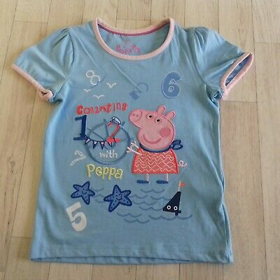 M&S Girls T-shirt Peppa Pig Blue Pink Holiday Summer BNWT