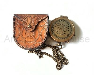Antique Brass Working Compass With Leather Case Marine Pocket Compass