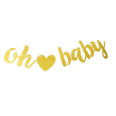 Glitter Oh Baby Banner Baby Party Bunting Garland Decoration For Baby Shower HT