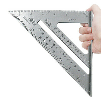 7'' Metric Aluminum Alloy Silver Triangle Woodwork Ruler Angle Protractor Gauge