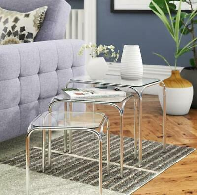 All Home 3 Piece Nula Nest of Tables Set Chrome Frame Clear Tempered Glass Top
