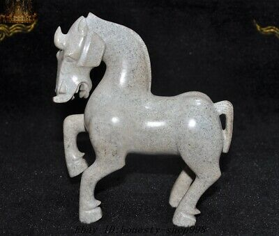 Chinese Fengshui Natural Hetian Jade Carved Tang Dynasty Horse War horses Statue
