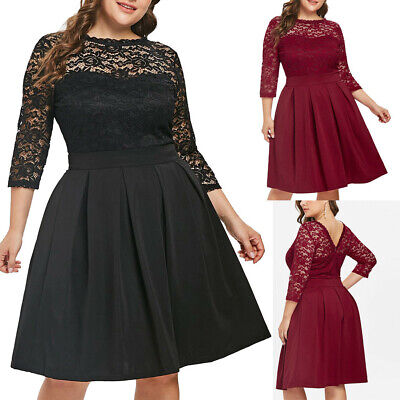 Fashion Plus Size Women's O-Neck Solid 3/4 Sleeve Lace Panel Flare A-Line Dress