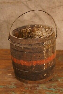 Antique 19th Century Powder Keg Barrel Style Paint Bucket Pale