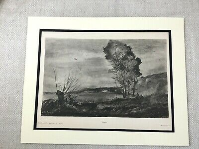 Antique Print French Landscape Old Master Drawing Jean Baptiste Camille Corot
