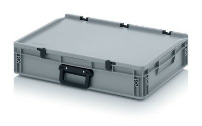 Plastic Box 60x40x13, 5 with Grip & Lid Storage Box Stacking Crates Chest